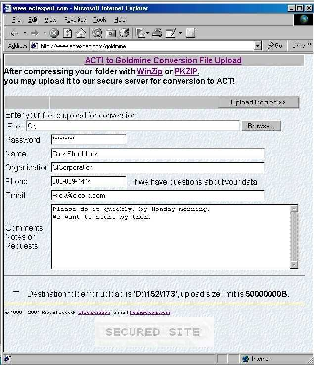 How to send your ACT! files for conversion into GoldMine